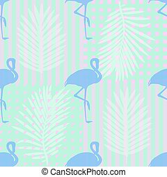 seamless tropical pattern background with blue flamingos