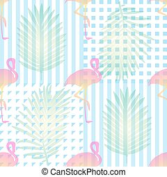 seamless tropical pattern background with pink flamingos