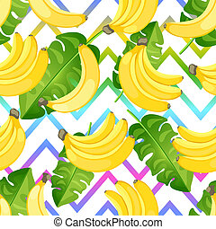Seamless tropical pattern of yellow banana on abstract zigzag background. Flat style bananas branch.