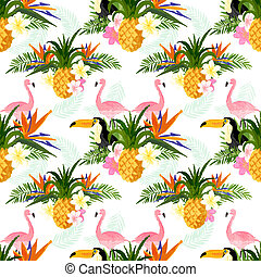 Seamless Tropical Pattern. Tropical summer seamless pattern background.