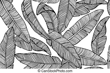 Seamless tropical pattern with banana leaves. Hand drawn vector