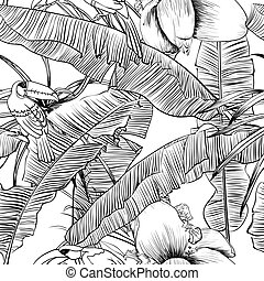 Seamless tropical pattern with banana palms coloring book