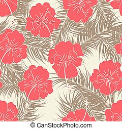 Seamless tropical pattern with brown leaves nad red flowers on vanilla background