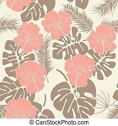 Seamless tropical pattern with monstera leaves and flowers on vanilla background