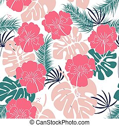 Seamless tropical pattern with monstera leaves and flowers on white background