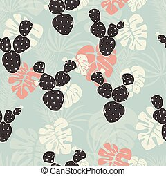 Seamless tropical pattern with monstera palm leaves and cactus on pink background