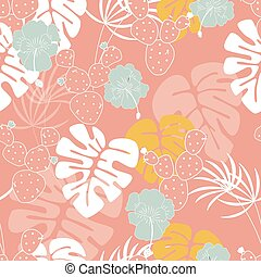 Seamless tropical pattern with monstera palm leaves, plants, flowers and cactus on pink background