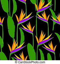 Seamless tropical pattern with strelitzia. Vector illustration