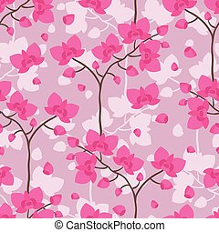 Seamless tropical pattern with stylized orchid flowers.
