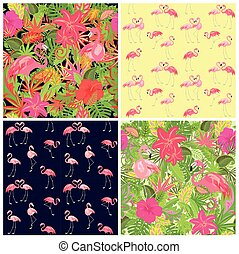Seamless tropical summery wallpapers collection with pair of flamingo and exotic floral colorful pattern for fabric, textile, wrapping paper, greeting card, invitation, web design