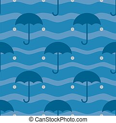 seamless umbrella with silver dot glitter pattern on blue background.