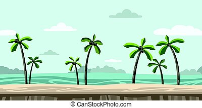 Seamless unending background for arcade game. Sandy beach with palm trees and clouds in the blue sky. Vector illustration.