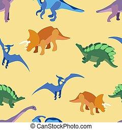 seamless, uralt, karikatur, minimalist, vektor, stil, wohnung, tiere, dragons., muster