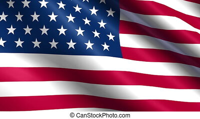 Seamless USA Flag waving in the wind with highly detailed fabric texture
