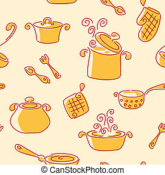 Seamless utensil pattern. Vector background.
