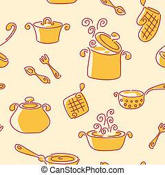 Seamless utensil pattern. Vector background.