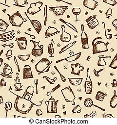 seamless, utensili, cucina, modello, schizzo
