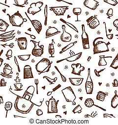 seamless, utensilios, cocina, patrón, bosquejo