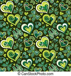 Seamless valentine pattern with colorful vintage green butterflies, flowers and hearts on black background. Vector illustration