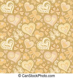 Seamless valentine pattern with colorful vintage sepia butterflies, flowers and hearts on brown background. Vector illustration.
