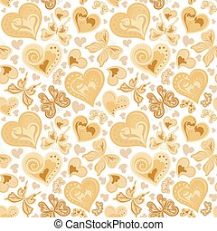 Seamless valentine pattern with colorful vintage sepia butterflies, flowers and hearts on white background. Vector illustration.