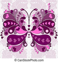 Seamless valentine pink-purple pattern with big butterfly