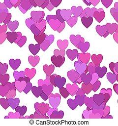 Seamless valentines day background pattern - vector illustration from purple hearts with shadow effect