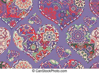 Seamless Valentine's Day pattern with pastel patchwork hearts on violet background.