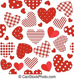 Seamless Valentine's Day pattern with patchwork hearts