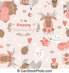 Seamless Valentines pattern with fun animals, hearts and flowers