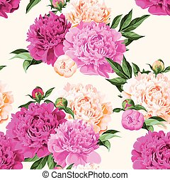 Seamless varicolored peonies - High detailed varicolored ...