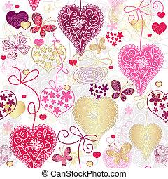 seamless, variegado, valentine, padrão