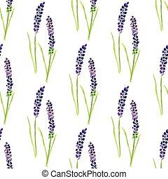 seamless, vattenfärg, lavendel, pattern., målad