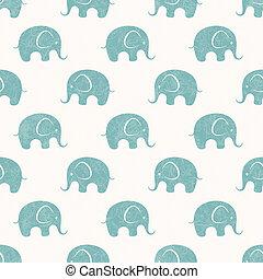 seamless, vecteur, impression, à, mignon, peu, éléphants