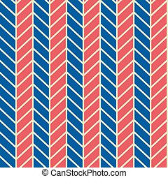 Seamless vector abstract retro 60s ribs blue and red stereo pattern