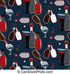 Seamless vector alcohol bottles pattern on blue