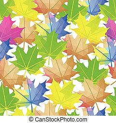 Seamless Vector Autumn Leaves Colorful Pattern. Maple leaf Abstract background