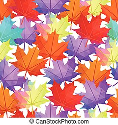 Seamless Vector Autumn Leaves Pattern. Maple leaf Abstract background