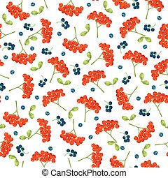 Seamless vector autumn pattern with red and navy blue berries and leaves. Elegant floral seamless pattern.