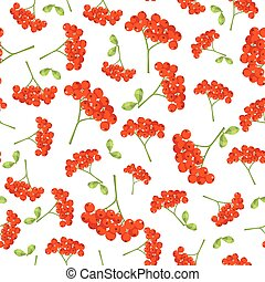 Seamless vector autumn pattern with red berries and leaves. Elegant floral seamless pattern.Vector rowan berries.