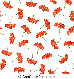 Seamless vector autumn pattern with red berries. Elegant floral seamless pattern.Vector rowan berries.
