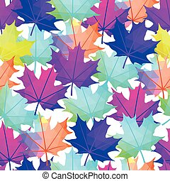 Seamless Vector Autumnal Leaves Pattern. Maple leaf Abstract background