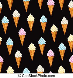 Seamless vector background Ice cream waffle cone.