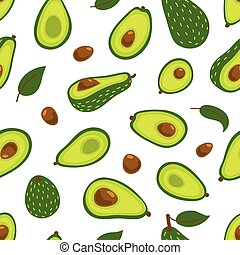 Seamless vector background with avocado on a white background. Pattern