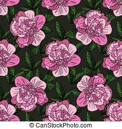 Seamless vector background with beautiful pattern of peonies