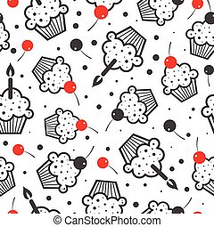 Seamless vector background with cakes.