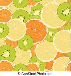 Seamless vector background with citrus fruits. Lime, lemon, tangerine, orange. Hand-drawn