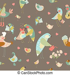 Seamless vector background with colorful birds