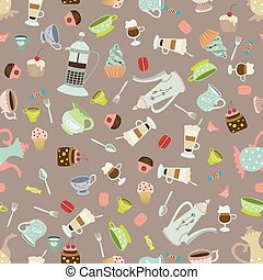Seamless vector background with dishes and cakes