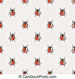 Seamless vector background with pretty watercolor ladybugs.